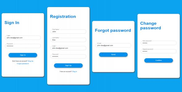 Angular - Login Forms Module - Blue Design