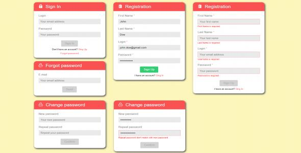 Angular - Login Forms Module - Flat Design