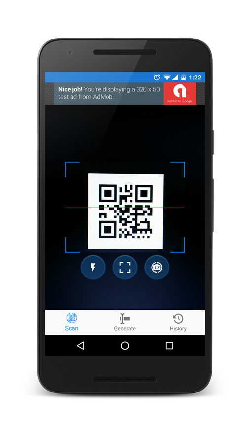 barcode scanner and qr code generator for android with admob in other apps alkanyx. Black Bedroom Furniture Sets. Home Design Ideas