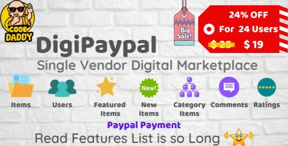 DigiPaypal - Single Vendor Digital Marketplace