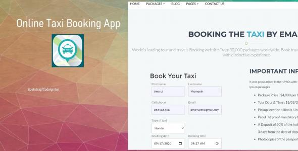 Online Taxi Booking Management System in PHP MySQL