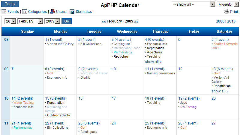 Weekly Calendar Java : Php calendar script pro in productivity apps alkanyx