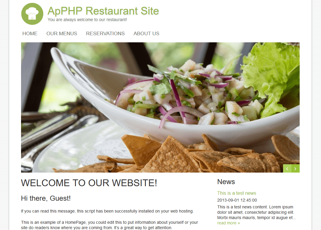 Restaurant Reservations Site PHP Script