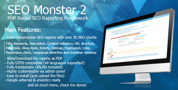SEO Monster 2 - On-page SEO Reporting App